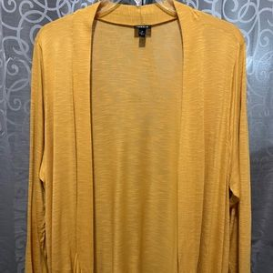 MUSTARD YELLOW BURNOUT CURVED FRONT CARDIGAN